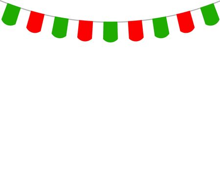pennon: Decorative flags on greeting card template for a happy Christmas vector