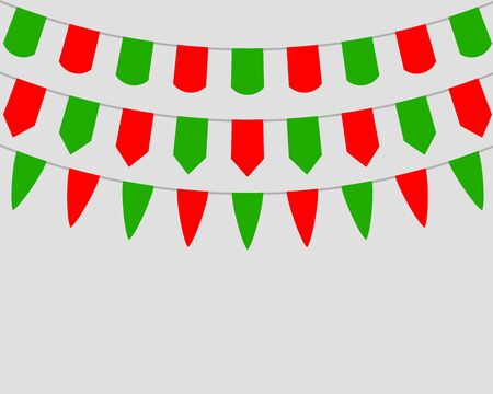 Decorative flags on greeting card template for a happy Christmas vector