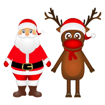 new yea: Santa Claus and Christmas reindeer are standing on a white backg vector
