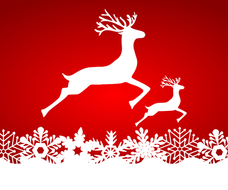 dignified: Two reindeer jump to each other on a red background with snowflakes, vector illustration