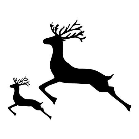dignified: Adult Reindeer and baby deer jumping on a white background, vector illustration