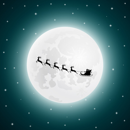 Santa Claus goes to sled reindeer in the background of the moon at night, vector illustration