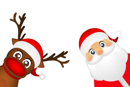 Snowman and Santa Claus look out the side on a white background vector