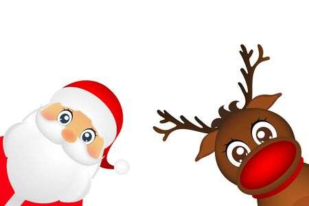 new yea: Snowman and Santa Claus look out the side on a white background vector