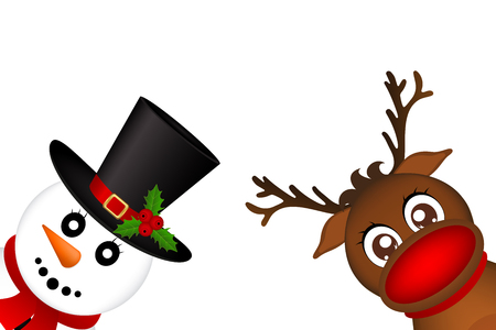 Snowman and Reindeer peeking sideways on a white background vector