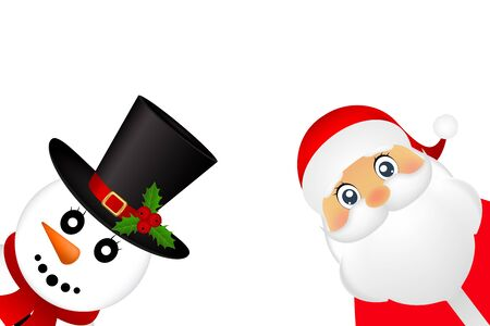 Santa Claus and Christmas snowman on a white background are standing, vector illustration Illustration