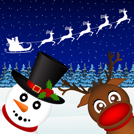 Snowman and Reindeer looking in the woods vector Illustration