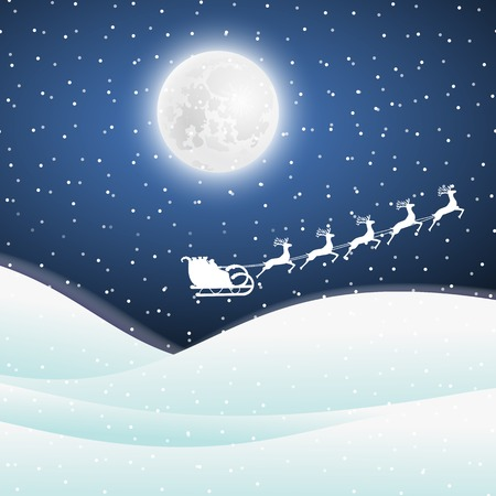Santa Claus goes to sled reindeer vector