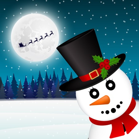 Snowman in the forest vector illustration holiday vector