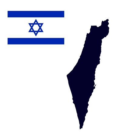 aviv: Israel map painted in the color of the flag