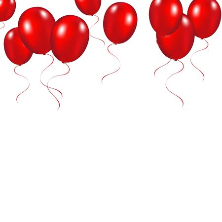 Red festive balloons background vector illustration on a white b Illustration