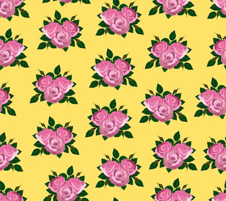 seamless wallpaper pink roses with leaves