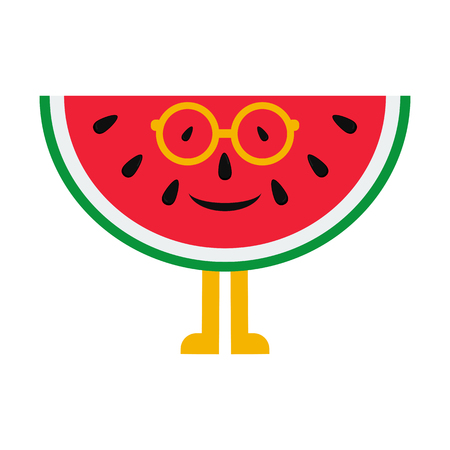 Cheerful cartoon watermelon in glasses on a white background