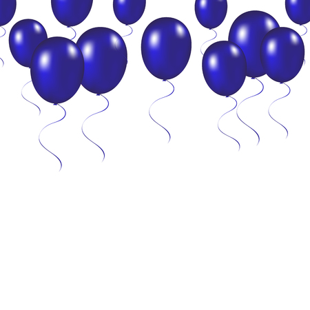 inflatable ball: Blue festive balloons background vector illustration on a white