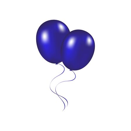 inflatable ball: Blue festive balloons vector illustration on a white background Stock Photo