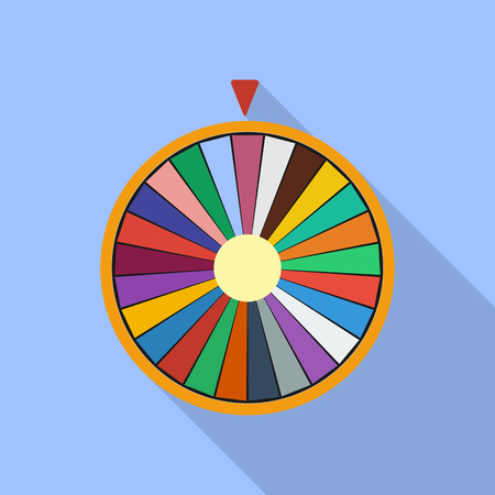 multiplicacion: Wheel of Fortune luck flat icon Vectores