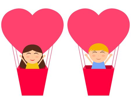 Boy and gerl sitting in hot air balloon in the shape of heart Stock Photo
