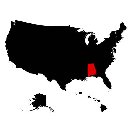 federated: map of the U.S. state  Alabama