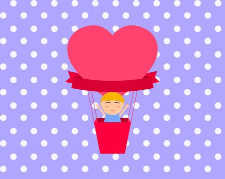 Boy sitting in hot air balloon in the shape of heart vector Illustration