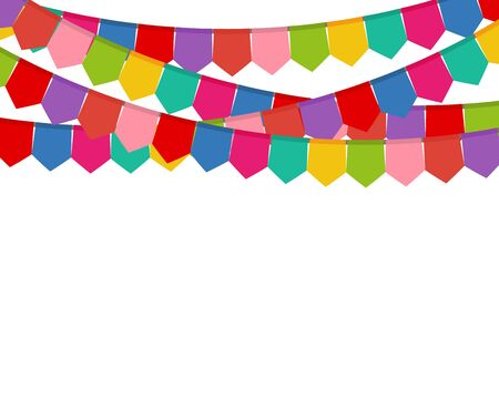 Colored flags on a holiday garland