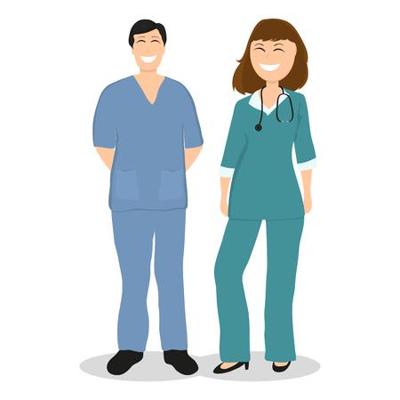Two doctor in hospital, flat design Illustration