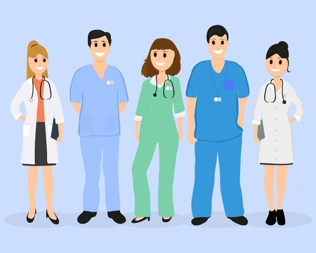Group of doctors in a hospital, flat design