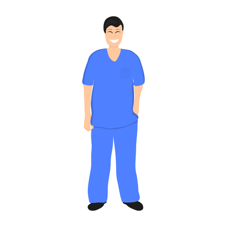 medico: Doctor man in Hospital, flat design