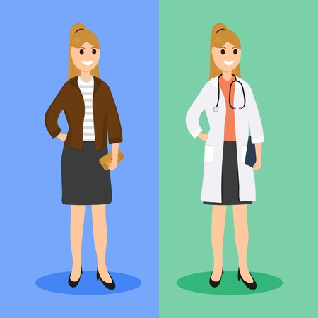 Woman doctor in ordinary life, flat design