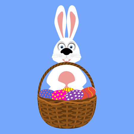 Easter bunny with basket of eggs Illustration