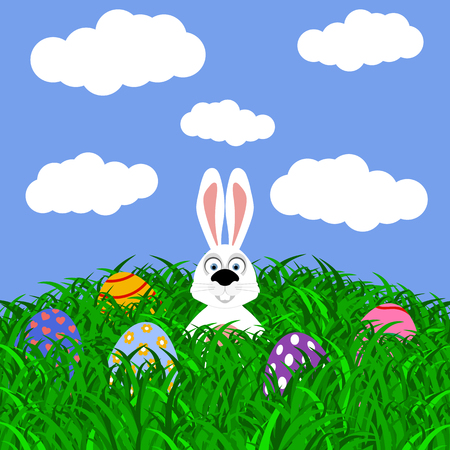 Easter bunny and eggs with stickers on the grass Illustration