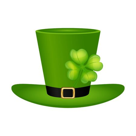 Cylinder hat leprechaun with clover leaf for St. Patrick