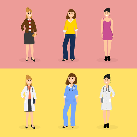 Women are young doctors and these same women in everyday life