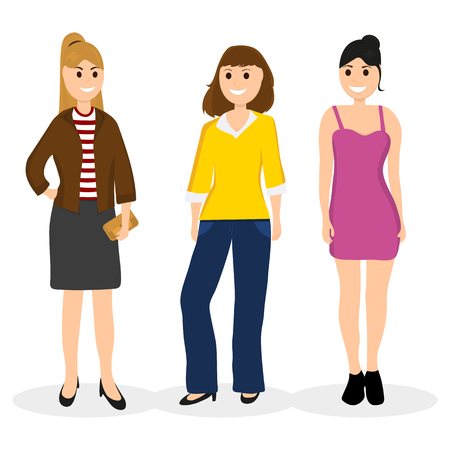 Women young girlfriends communicate, vector illustration on a wh Illustration