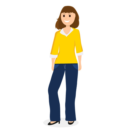 Young cartoon woman on a white background