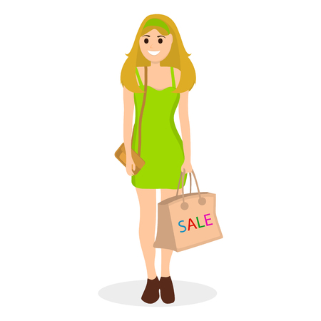 Young women in green dress on a shopping sale with a bag Illustration