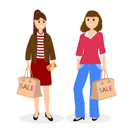 Young women on a shopping sale with a bag on jeans and skirt.
