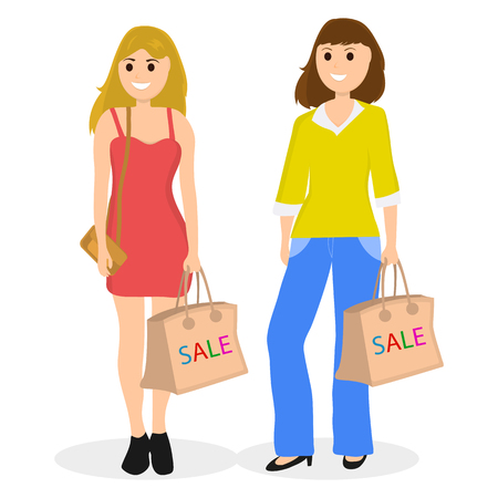 Young women on a shopping sale with a bag on jeans and dress. Illustration