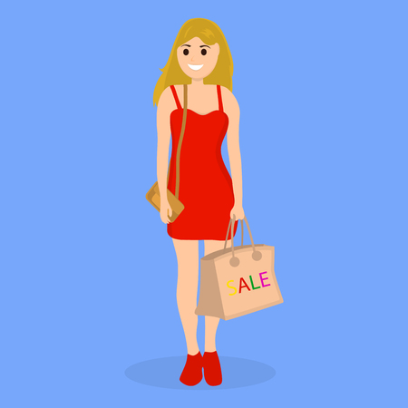 Young woman on a shopping sale with a bag on blue background. Illustration