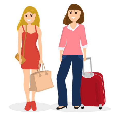 Women tourists with bags and red suitcase on jeans Illustration