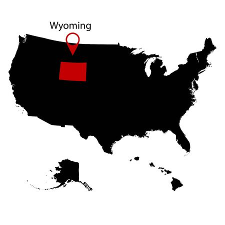 federated: U.S. state on the . map Wyoming Illustration