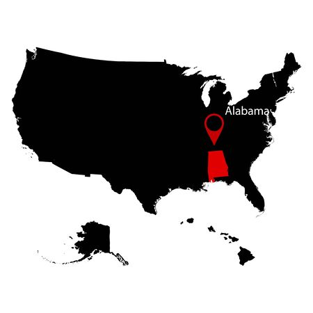 federated: map of the U.S. state of Alabama