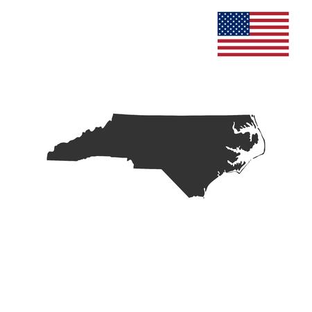 kaart van de Amerikaanse staat North Carolina op een witte achtergrond