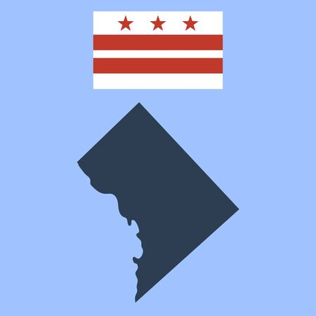 Flag of the District of Columbia and map Illustration