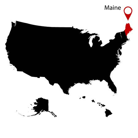 federated: map of the U.S. state of Maine vector