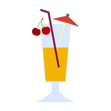 A glass of tropical coquel with cherries and an umbrella