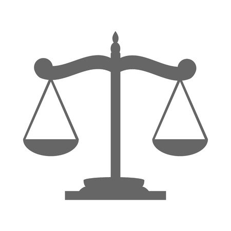 justice scale: Balance on the scale icon on white background