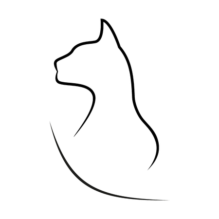 Silhouette of a cat on a white background Stock Vector - 80835511