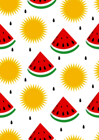 rind: Watermelon and sun seamless background