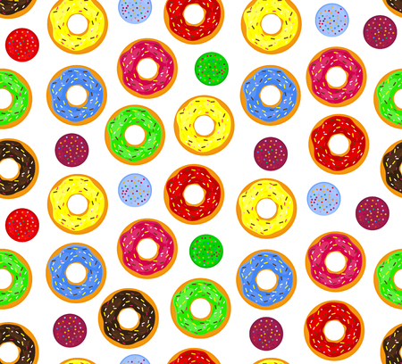glazed: Seamless background of donuts with pastry pads