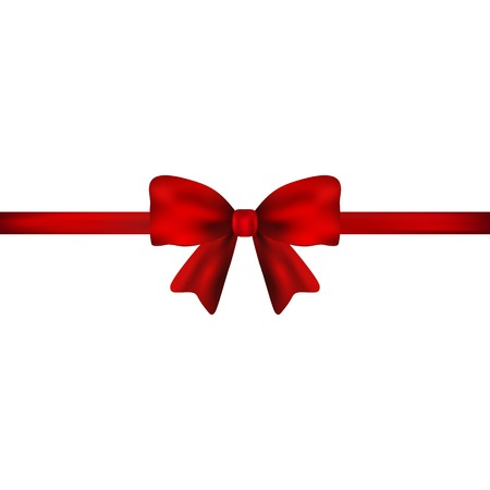 Red gift bow of ribbon isolated on white background Stock Photo